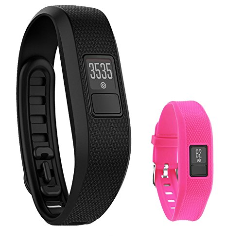 Vivofit 3 Activity Tracker Fitness Band + Replacement Band (Black XL + Pink Band) For Sale