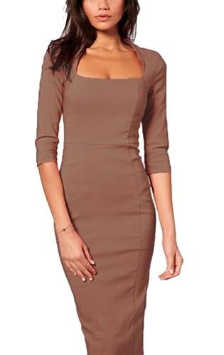 LECHEERS Women Square Neck 1/2 Sleeve Bodycon Buisness Formal Pencil Midi Dress