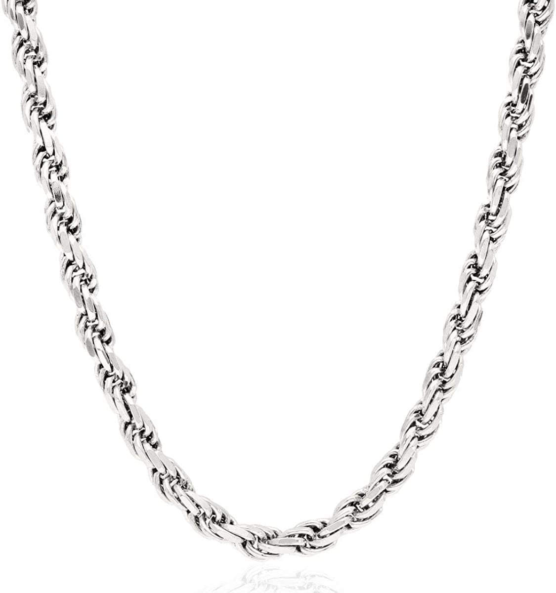 925 Sterling Silver Diamond Cut 6mm Rope Chain Necklace 24 26 28 28