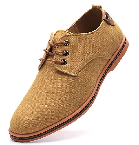 DADAWEN Men's Casual Canvas Lace Up Oxfords Shoes Camel US Size 11 ()