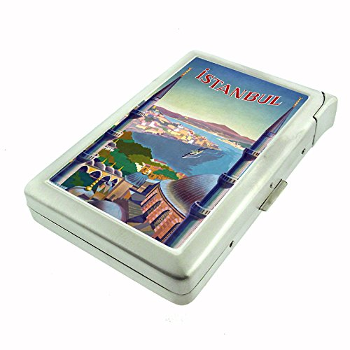Perfection In Style Metal Cigarette Case with Built In Lighter Vintage Travel Posters Design 021
