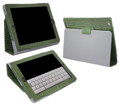 iTALKonline PADWEAR CROCODILE GREEN Multi Function Multi Angle Luxury Executive Wallet Stand Cover Typing Case For Apple iPad 2 (2011) 2nd generation iPad 3