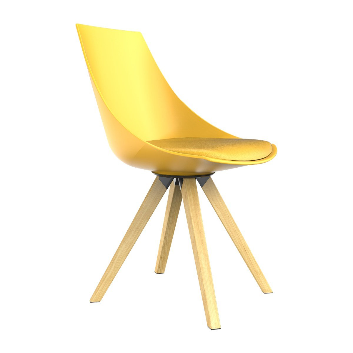 Hestia Haus Dining Chair PP Shell Yellow Kitchen Chairs with Fixed Metal Legs with Wooden Grain Original Modern Design