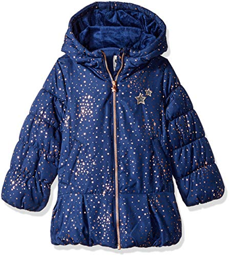 OshKosh B'Gosh Girls' Little Hooded Peplum Jacket Coat, Navy, 4