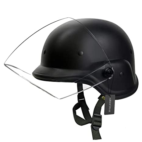ae2b4e7f Tactical Military Airsoft M88 PASGT Kelver Swat Helmet with Clear Visor,  Black