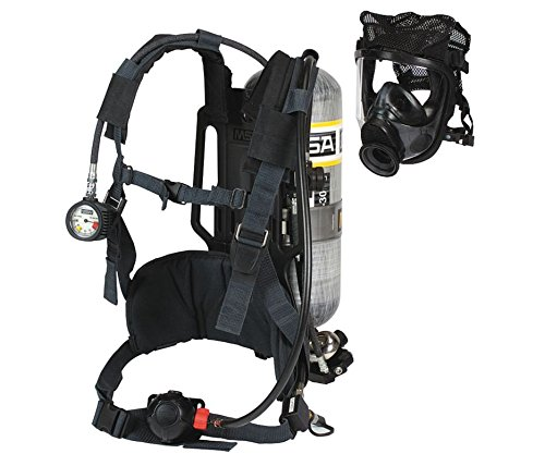 AirHawk II Industrial Air Mask - Adv 4000, Medium Hycar, Polyester Net Head Harness, Aluminum - 30 minutes, Hard Case, Black - MSA 10095804