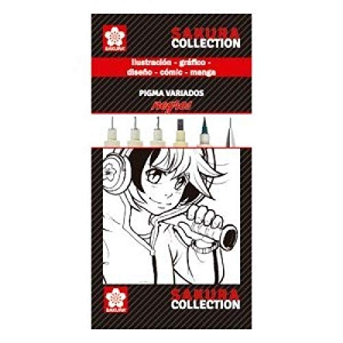 Sakura – Set Completo De Cinco Rotuladores Negros Pigma Diferentes Versiones Y Un Portaminas Multicolor