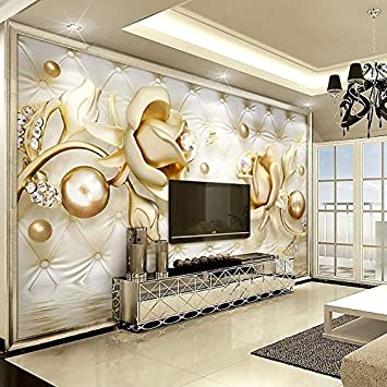 Buy Wisdom Custom Mural Wallpaper 3d Golden Roses Ball Soft Pack Diamond Murales De Pared 3d Wallpaper Living Room Bedroom Wall Painting Online At Low Prices In India Amazon In