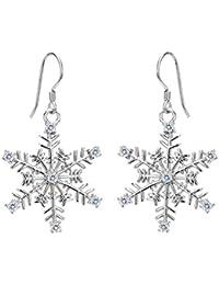 Women's 925 Sterling Silver CZ Winter Party Snowflake Hook Dangle Earrings Clear
