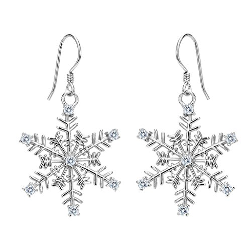 EVER FAITH Women's 925 Sterling Silver CZ Winter Party Snowflake