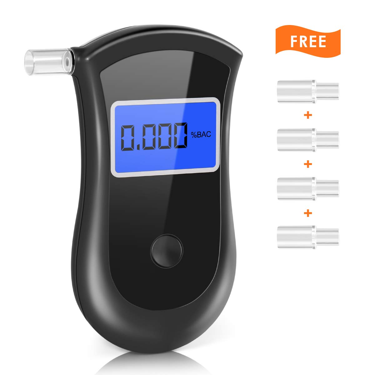 Breathalyzer, [New Version] Portable Breath Alcohol Tester LED Screen with 5 Mouthpieces for Home Use