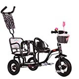 LQRYJDZ Double child tricycle, space wheel,twin stroller two-seat bicycle,Unisex 1-3 years old (Color : A)