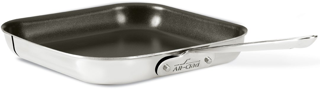 All-Clad 4011 NS R2 Stainless Steel Tri-Ply Bonded Dishwasher Safe Nonstick Square Griddle / Cookware, 11-Inch, Silver