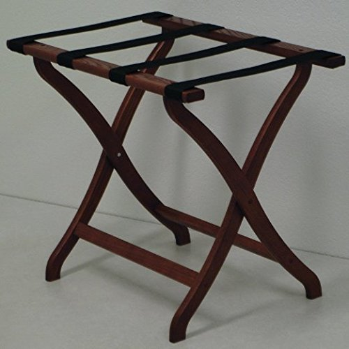 DMD Luggage Rack, Suitcase and Briefcase Stand, Curve Leg, Mahogany Wood Finish with Black Straps by Discount Medical Depot LLC