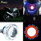 Pivalo High Intensity Projector Lamp Headlight with Stylish Dual Ring COB LED Angel Eye Rings for Cars, Bikes and SUVs (Blue & Red)