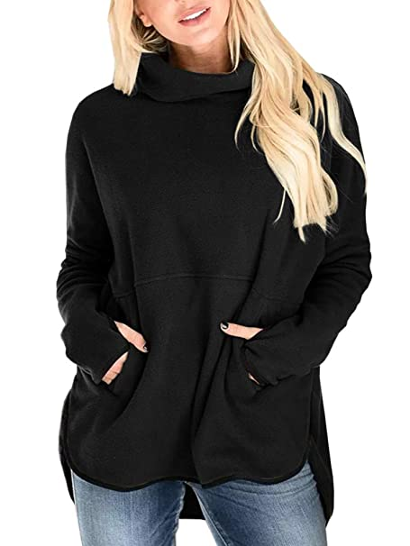 037e1e29640 Women's Fleece Fuzzy Cowl Neck Sweater Casual Tunic Tops Pullover  Sweatershirts with Pocket at Amazon Women's Clothing store: