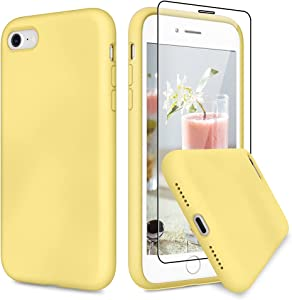 VEGO Compatible for iPhone SE 2020 Rubber Case, iPhone 7 8 Slim Silicone Case with Tempered Glass Screen Protector, Microfiber Lining Shockproof Cover for iPhone 7/8/SE 2020 4.7 inch - Yellow