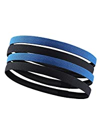 4 Pack Guys Head Bands Hair Bands for Men, Sweat Bands Sports Stretchy Headband for Women, No Slip Good Grip for Kids & Adults, Perfect for Soccer, Basketball, Football, Yoga, Running.