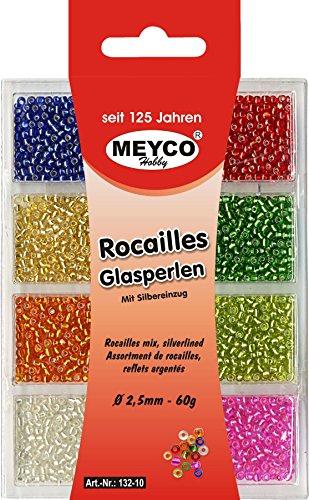Rocailles Mini Glasperlen mit Silbereinzug