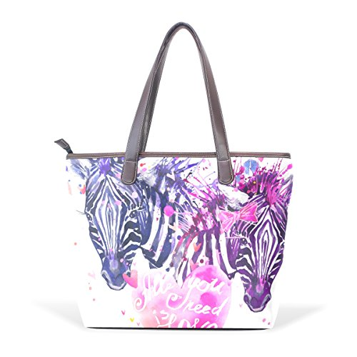 Coosun Watercolor Love Zebra Large Leather Bags Handle Pu Shoulder Bag Tote Bag M (40x29x9) Cm Multicolor # 002