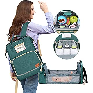 Diaper Bag with Bassinet for Baby Girl Boy Travel Portable Changing Station Backpack Organizer Insulated Pocket Baby Crib Out Bed Foldable Waterproof Convertible Multi-Functional (Green)