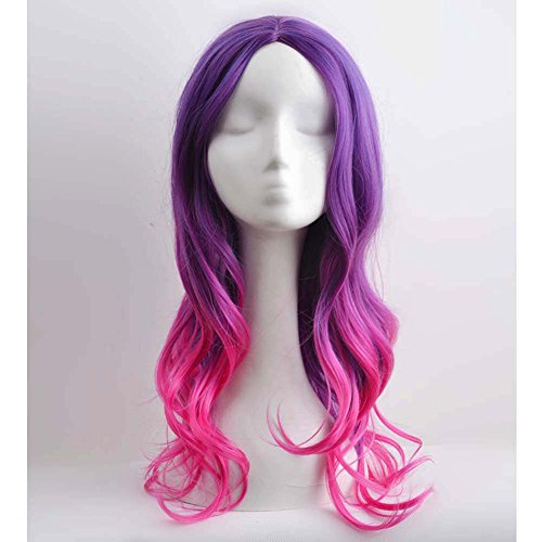 RightOn 22'' Long Wavy Women Girls Sexy Ombre Hair Colorful Wigs for Cosplay Halloween Party with Wig Cap (Purple Ombre Hot Pink) (Colorful Wigs)