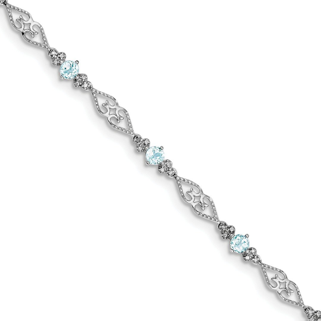 ICE CARATS 925 Sterling Silver Diamond Blue Aquamarine Bracelet 7 Inch Gemstone Fine Jewelry Ideal Gifts For Women Gift Set From Heart