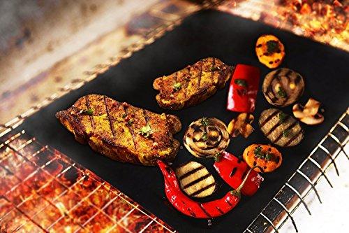 tiezung Best BBQ Grill Mat, Durable Heavy Duty 600 Degree Non-Stick Mats, Set Of 2