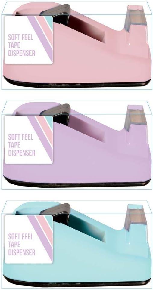 Pink Soft Feel Tape Dispenser Pastel Colour Desk Home Sellotape Equipment Stationery