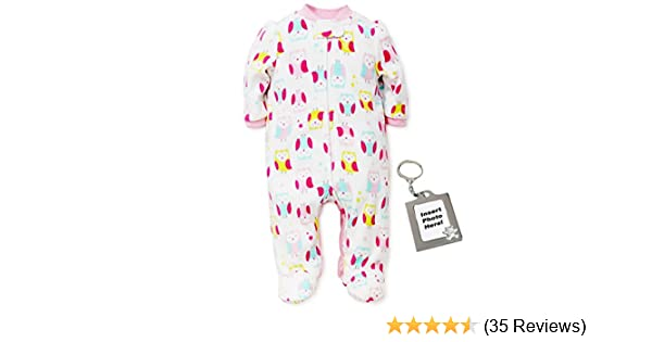 fa96a4389b Amazon.com  Little Me Girls Owl Blanket Sleeper Fleece Kids One Piece Footed  Pajama White 18M  Baby