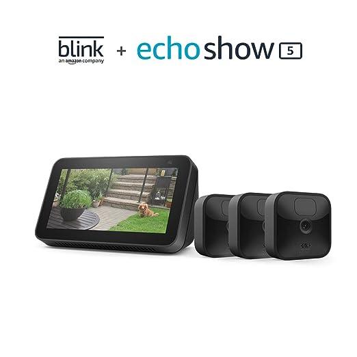 Blink Outdoor 3 Cam Kit bundle with Echo Show 5 (2nd Gen) | Amazon