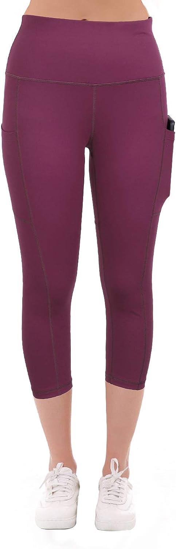 Xtextile Womens High Waist Capri Yoga Pants Tummy Control Yoga Capri Running Leggings with Side Pockets