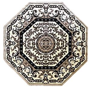 Americana Traditional Octagon Persian Area Rug Ivory Design 101 (4 Feet X 4 Feet)