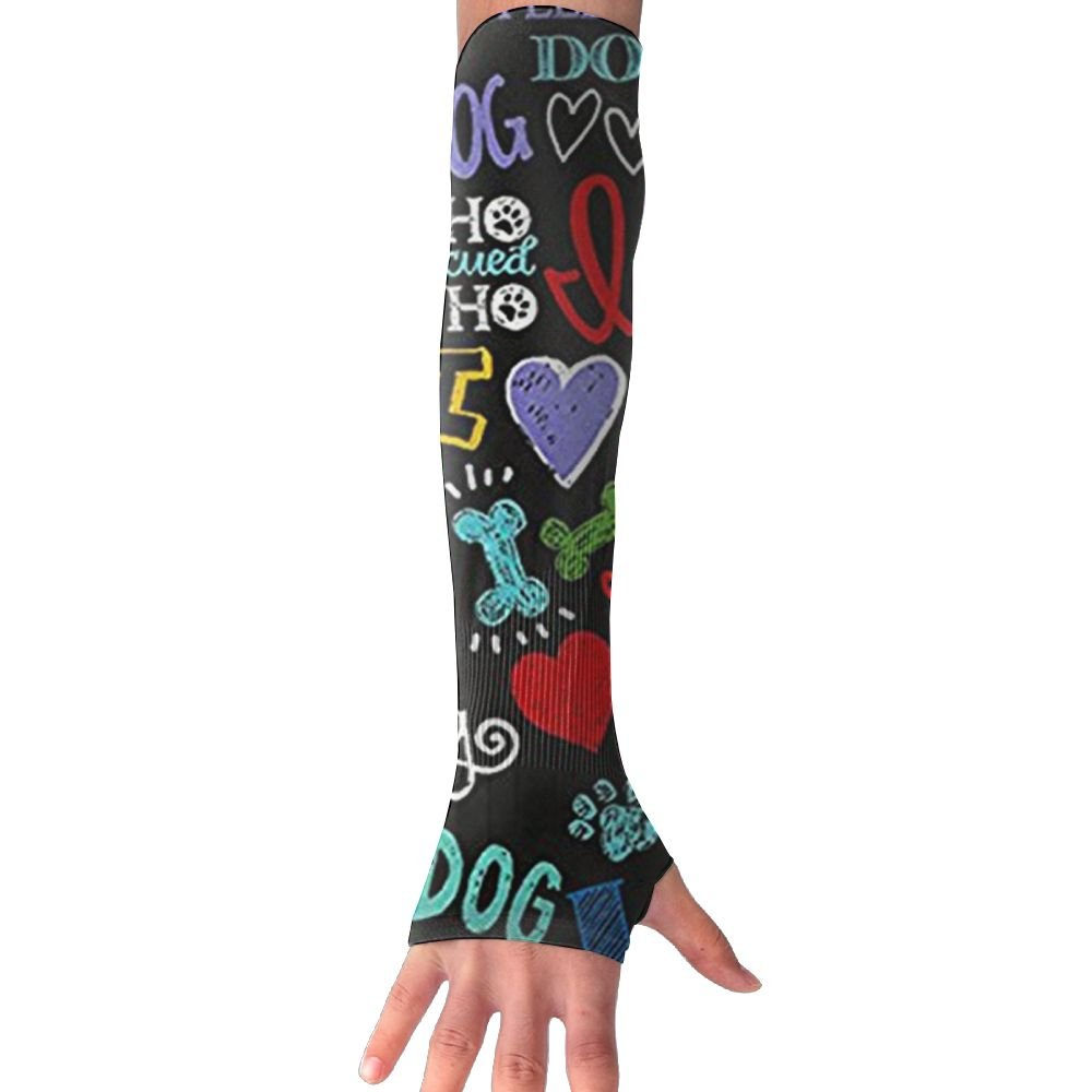 Huadduo Animal Novelty I Love My Dog Women's Super Long Fingerless Anti-uv Sun Protection Golf Driving Sports Arm Sun Sleeves Gloves by Huadduo (Image #1)