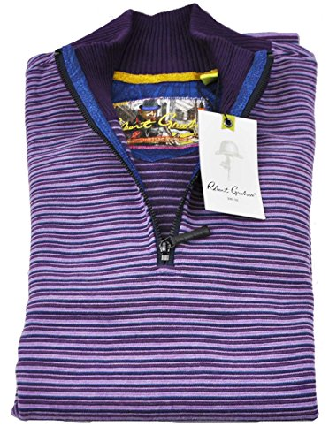 robert-graham-mens-medium-blackberry-stripe-long-sleeve-1-4-zip-pullover-sweater