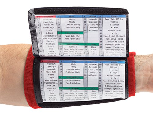 WristCoaches QB Wrist Coach - Playbook Wristband (Youth - Red) - Heavy Duty Football Wristbands for Boys with Three Playsheet Compartments - Perfect for Flag Football and Tackle Football