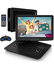 Jekero 16.9'' Portable DVD Player with 14.1'' HD Swivel Screen Car DVD Player Portable 5 Hrs Rechargeable Battery Mobile DVD Player for Travel with Car Charger, Car Headrest Mount, USB/SD Card/Sync TV