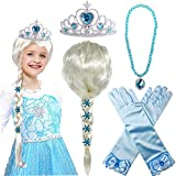 Toys : Princess Elsa Wig Frozen Elsa Braid with Princess Tiara Necklace Gloves Princess Elsa Dress Up Costume Cosplay Accessories for Kids Girls