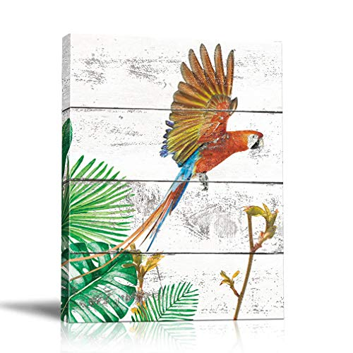 Parrot Palm Tree - Birds Wall Art Canvas Painting Parrot Framed Prints Palm Leaves Tree Artwork Pictures Animal Poster Bedroom Home Decor 12x16in (Picture-03)