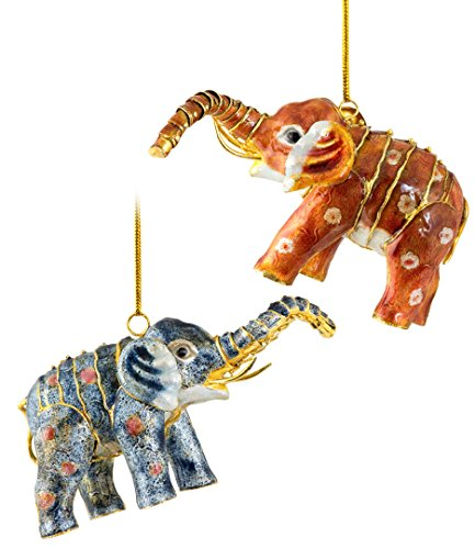 Christmas Ornaments, 2 Piece Set Cloisonne Aticulate Elephant Ornament