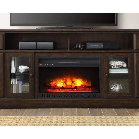 Barston Laminated Wood Fireplace Dark Rustic Brown Tv