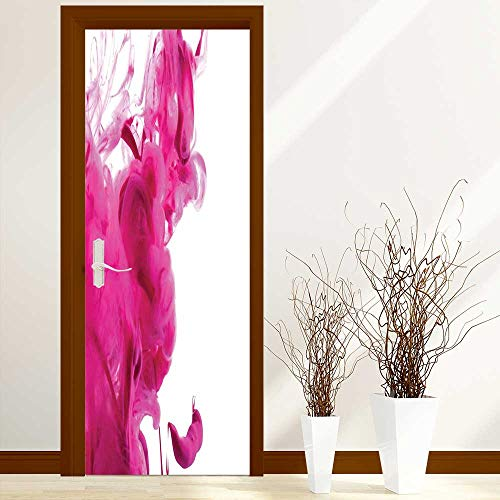 Door Stickers Arts Decals Wall Stickers Decor Color Splash Pastel Colored Hazy Flame Like Watercolor Show Style Punch Pink White Easy-to-Clean, Durable W36 x H79 inch