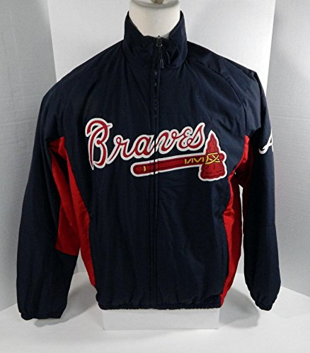 (Atlanta Braves Game Used Blue Bench Jacket BRAVE0006 - Game Used MLB Jerseys)