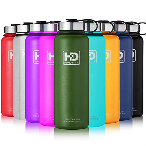 Large Vacuum Insulated Stainless Steel Water Bottle, Double Walled, Leak Proof and Built-in Filter, Food Grade Wide Mouth Coffee Mug for Travel Camping Outdoor Sports, Keeps Drink Hot & Cold (37 oz) (Food Large Mug)