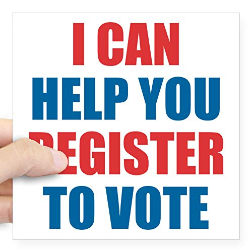 CafePress I Can Help You Register to Vote Sticker Square Bumper Sticker Car Decal, 3