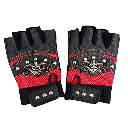 Lx10tqy Anti-Skid Breathable Skull Punk Rivet Driving Motorcycle Bike Bicycle Half Finger Gloves Red