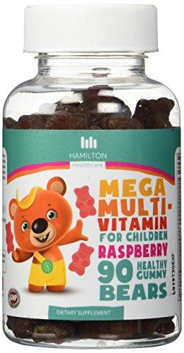 Mega multi vitaminas para los niños, 90 frambuesa sana osos Gummy sabor con ningunos sabores artificiales por Hamilton Healthcare