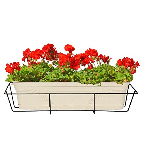 CobraCo 24-Inch Black Flower Box Holder with Adjustable Hanging Brackets F2426-B by CobraCo