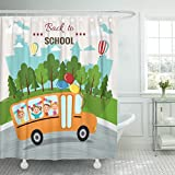 Emvency Shower Curtain Building Welcome Back to School Bus Kids Happy Boy Waterproof Polyester Fabric 72 x 78 Inches Set with Hooks