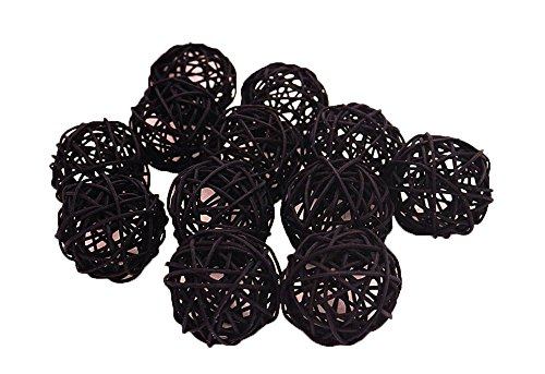 Christmas Gifts : Small Black Rattan Ball, Wicker Balls, DIY Vase And Bowl Filler Ornament, Decorative spheres balls, Perfect For Decoration And Party 2.5 inch, 12 Pcs (Free Gift From Conserve Brand)